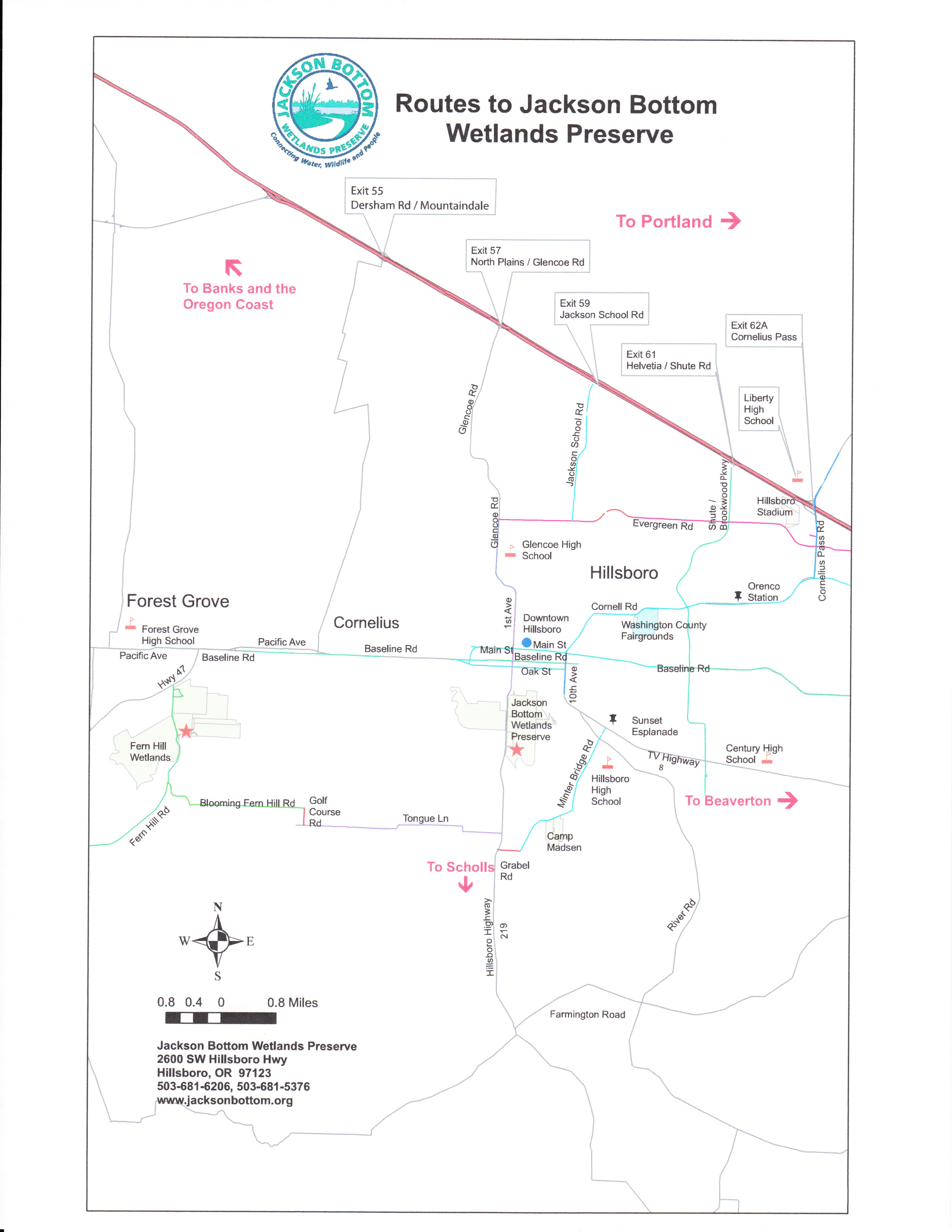 Maps | Jackson Bottom Wetlands Preserve Mammal List Directional Maps on